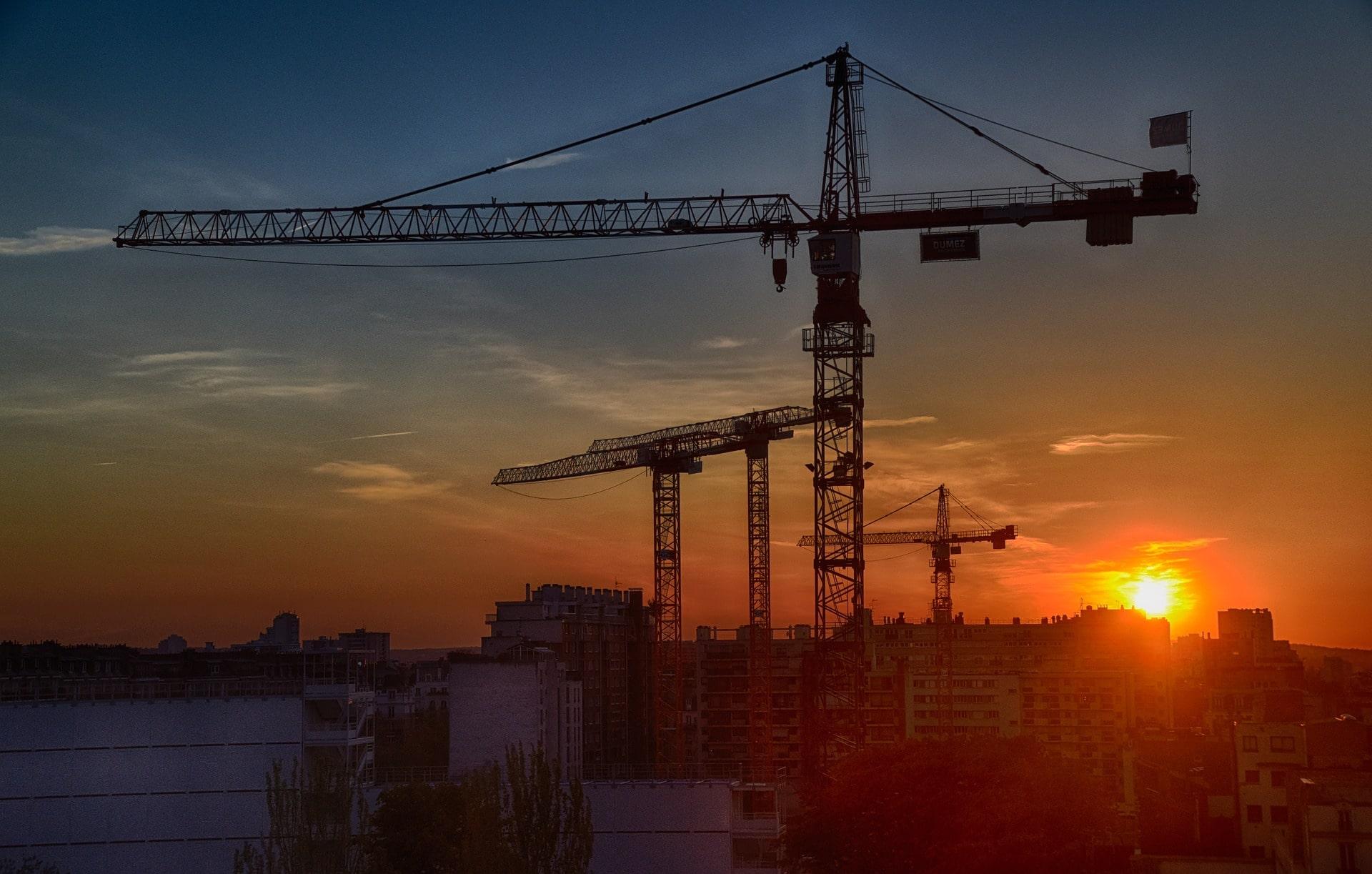 Crane at sunset
